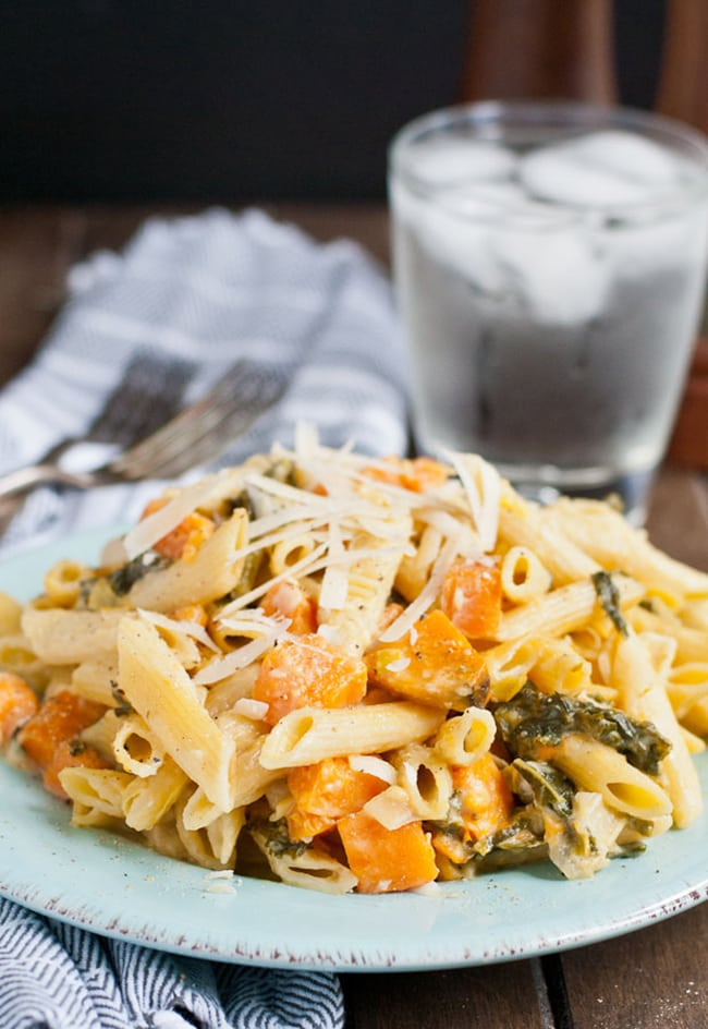 One Pot Creamy Sweet Potato, Kale, and Leek Pasta | Neighbor Food