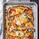 Low Carb Pepperoni Mushroom Cauliflower Crust Pizza