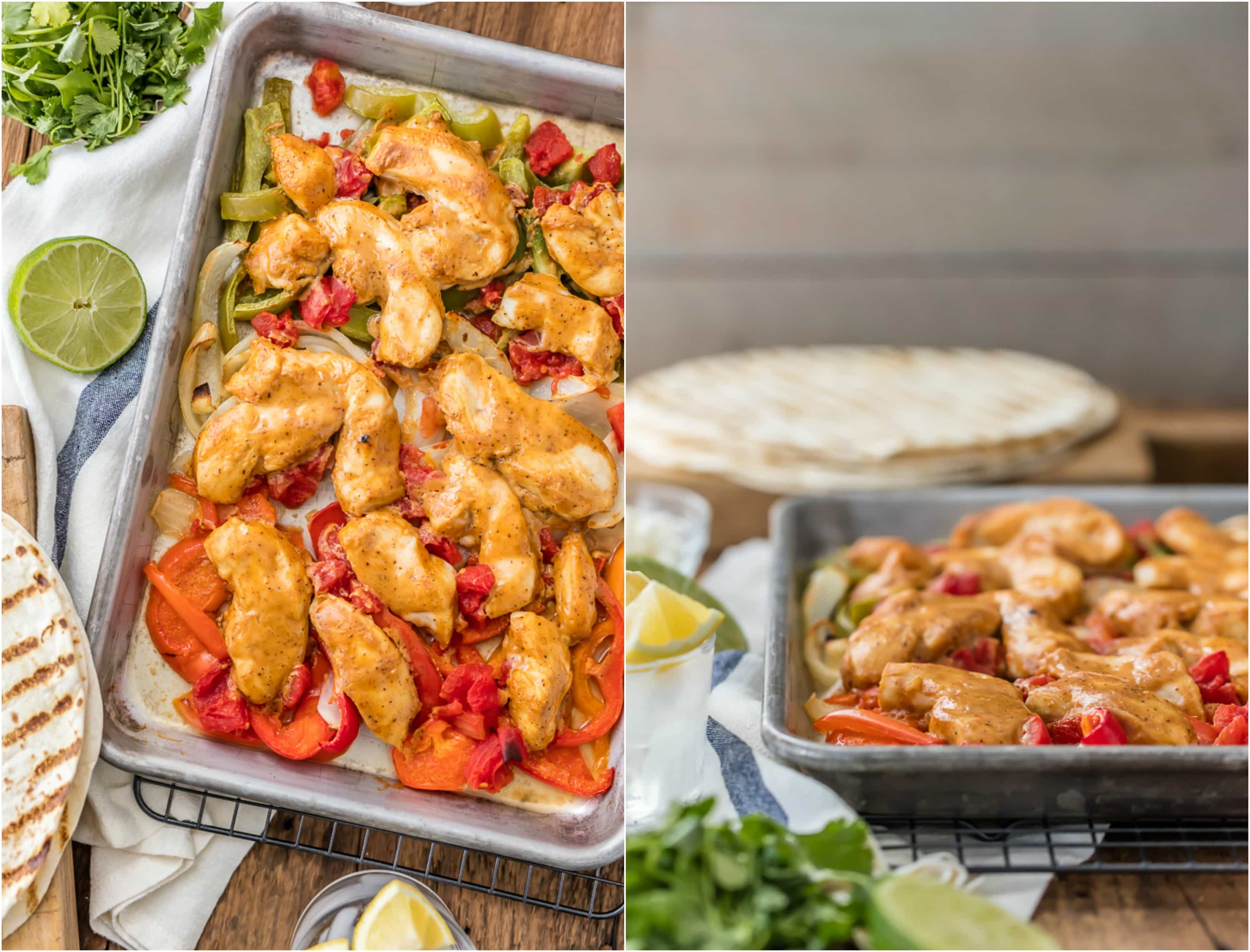 chicken fajita strips and veggies in a sheet pan