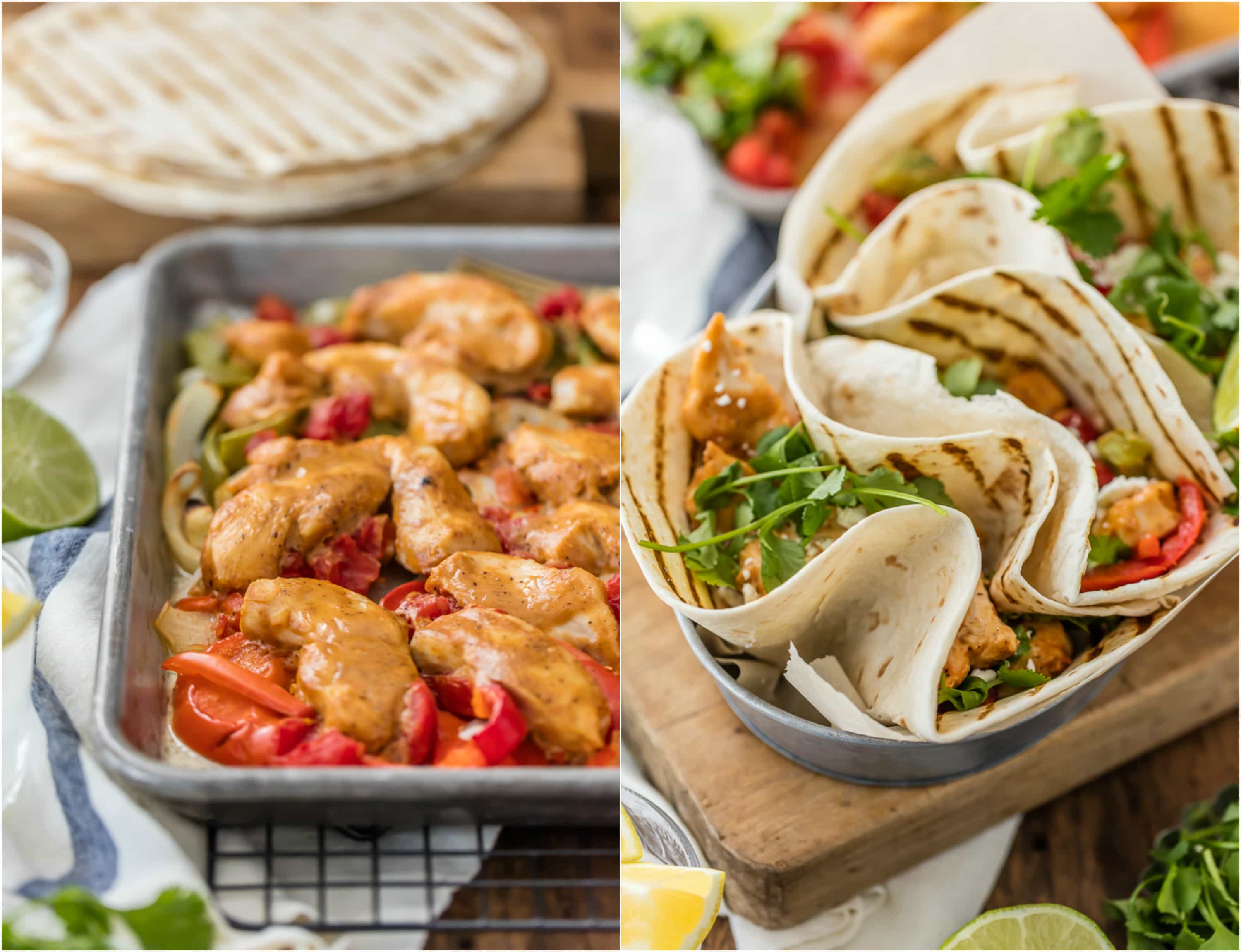 sheet pan fajitas, chicken fajitas in tortillas