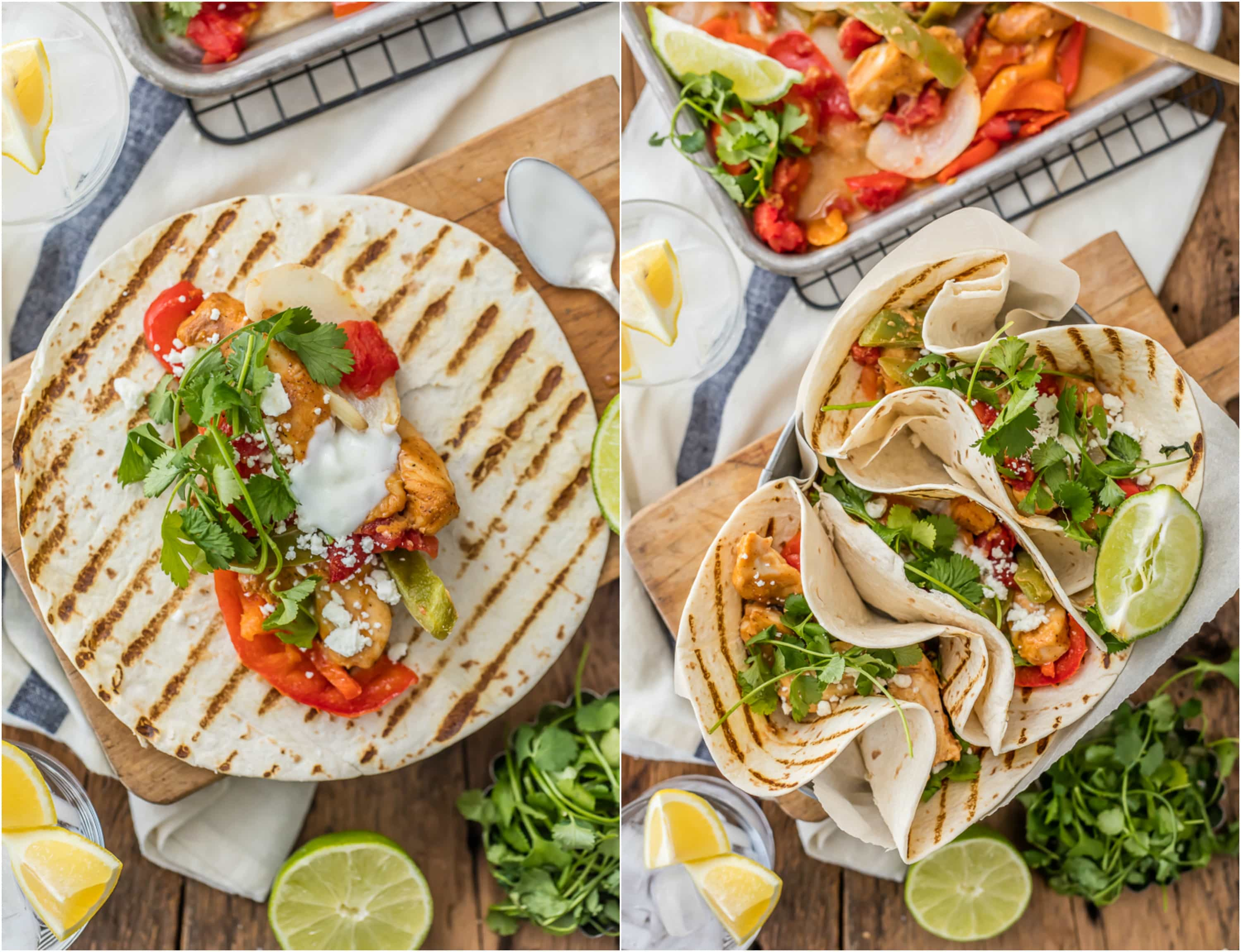 easy chicken fajitas piled into tortillas