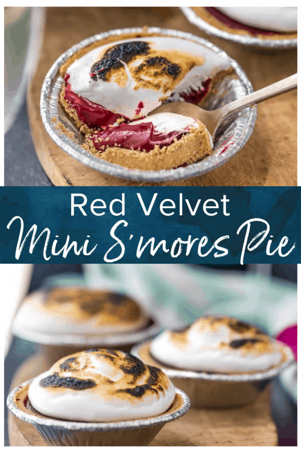 S'mores Pie is one of my favorite easy Valentine's Day dessert recipes! These Red Velvet Mini Tarts are single serving pies with chocolate, graham cracker, and toasted marshmallow fluff. These Mini Red Velvet S'mores Pies are just so fun and tasty! #thecookierookie #smores #redvelvet #pie #dessert #valentinesday