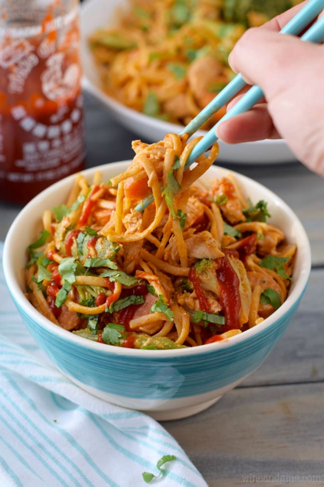 Sriracha Noodle Bowl |Wine and Glue