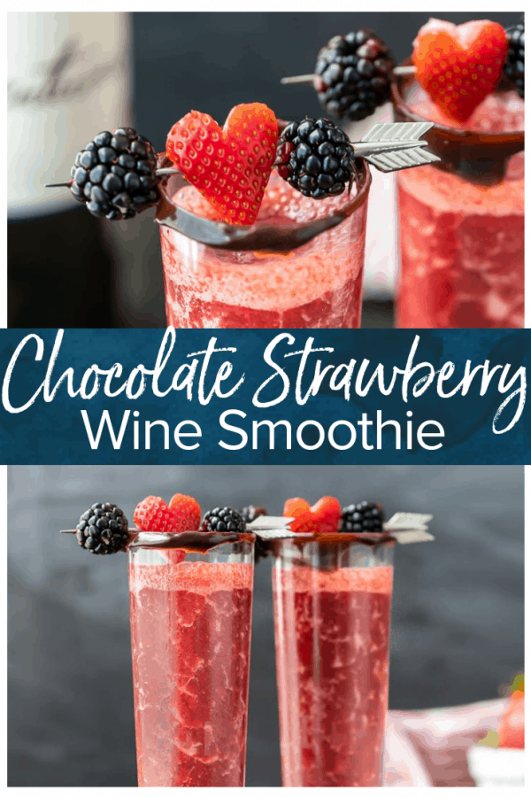 A Strawberry Chocolate Wine Smoothie inspired by delectable chocolate covered strawberries. This chocolate strawberry smoothie is the perfect Valentine's Day drink! A tasty wine cocktail that's easy to make, delicious, and absolutely beautiful! #thecookierookie #wine #cocktail #valentinesday #drinks #chocolate #strawberry