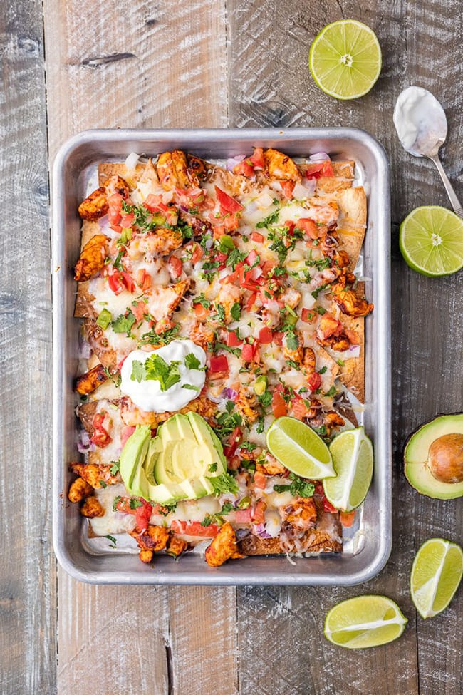 Tequila Lime Sheet Pan Chicken Nachos | The Cookie Rookie