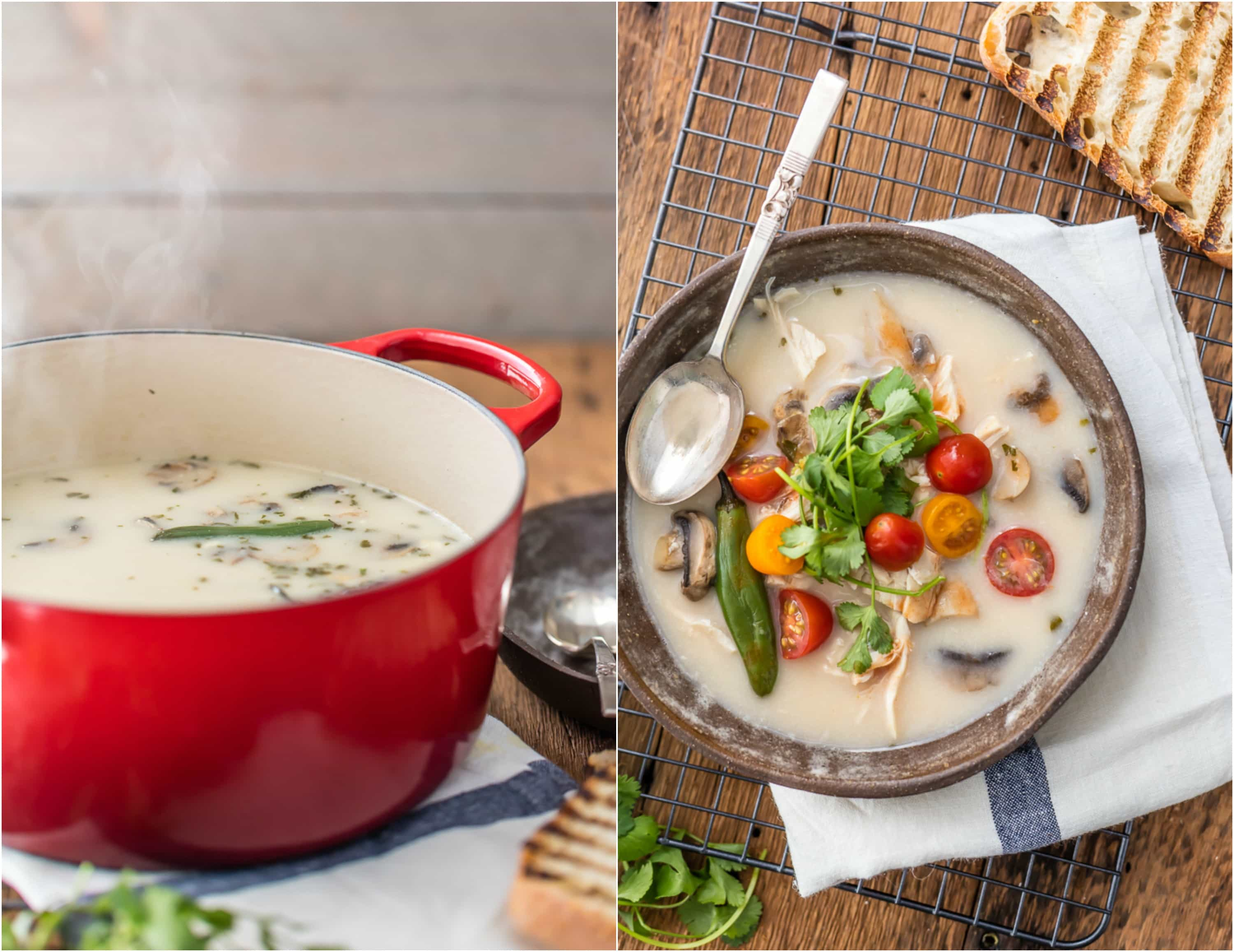 two images sides by side: red pot and bowl of soup