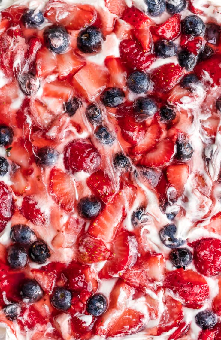 blueberries, raspberries, and strawberries mixed in with cream and mascarpone