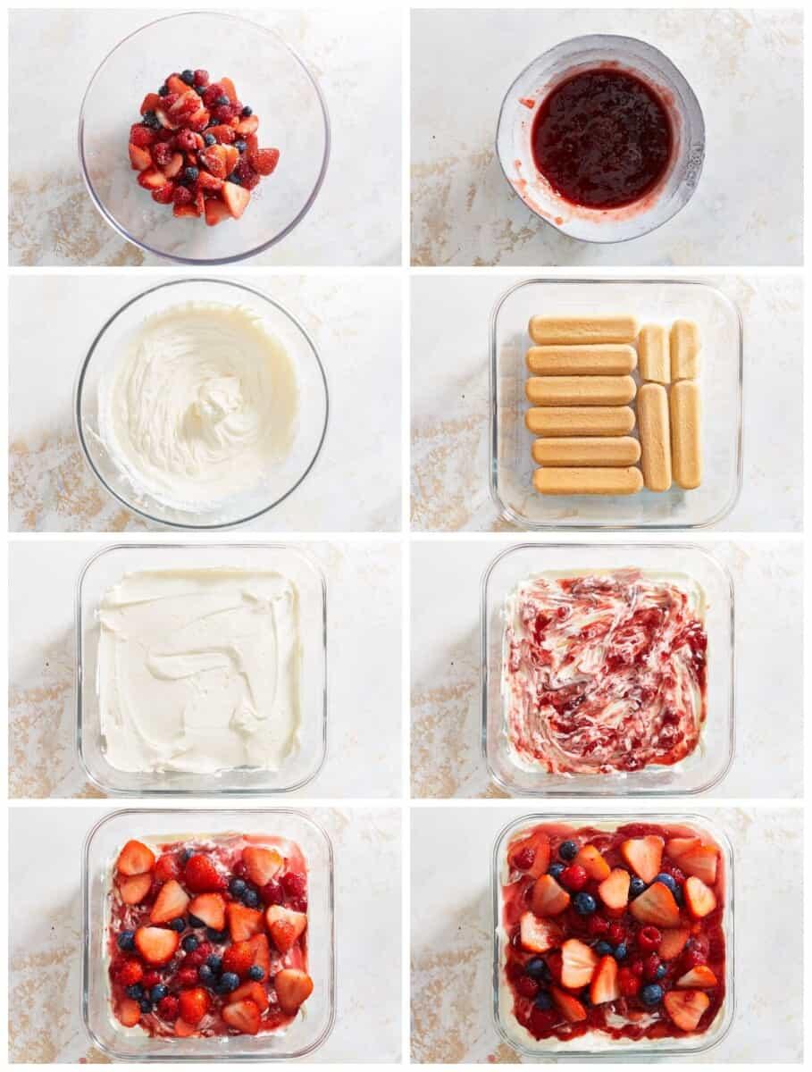 step by step photos for how to make berry tiramisu