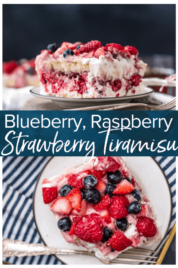 Strawberry Tiramisu with Blueberries and Raspberries is a delicious triple berry dessert! This fruity tiramisu recipe is sweet, beautiful, easy, and SO delicious. It's the perfect easy dessert recipe for Valentine's Day, 4th of July, or any other day of the year! #thecookierookie #desserts #berries #strawberry #tiramisu #valentinesday #4thofjuly