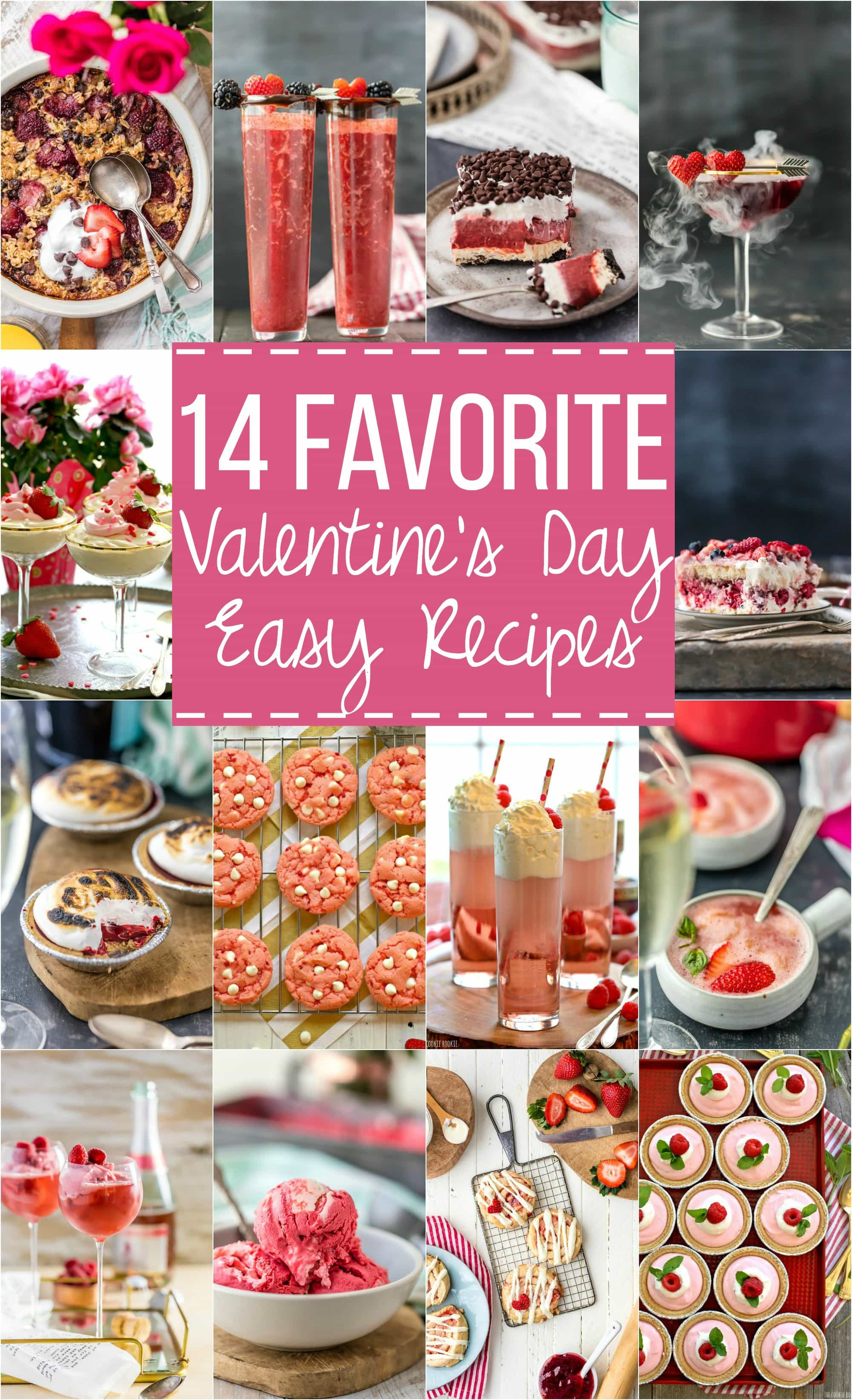 14 Favorite EASY Valentine's Day Recipes for everyone! Drinks, desserts, and everything in between. BEST creative Valentines recipes all in one place!