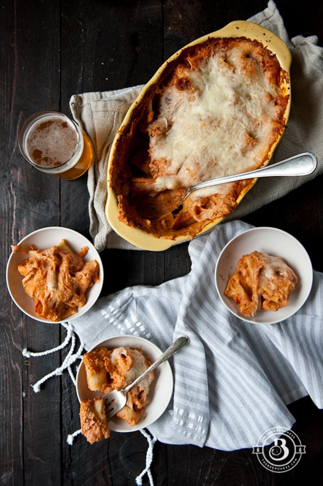 Baked Rigatoni Pasta in Beer Tomato Cream Sauce | The Beeroness