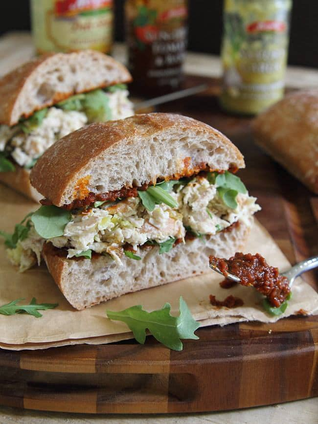 Garlic Yogurt Chicken Salad Sandwich with Sun Dried Tomato Spread ...