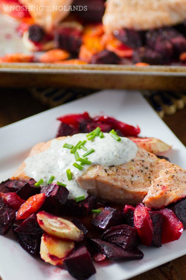 Roasted Salmon and Root Vegetables with Horseradish Sauce | Noshing with the Nolands