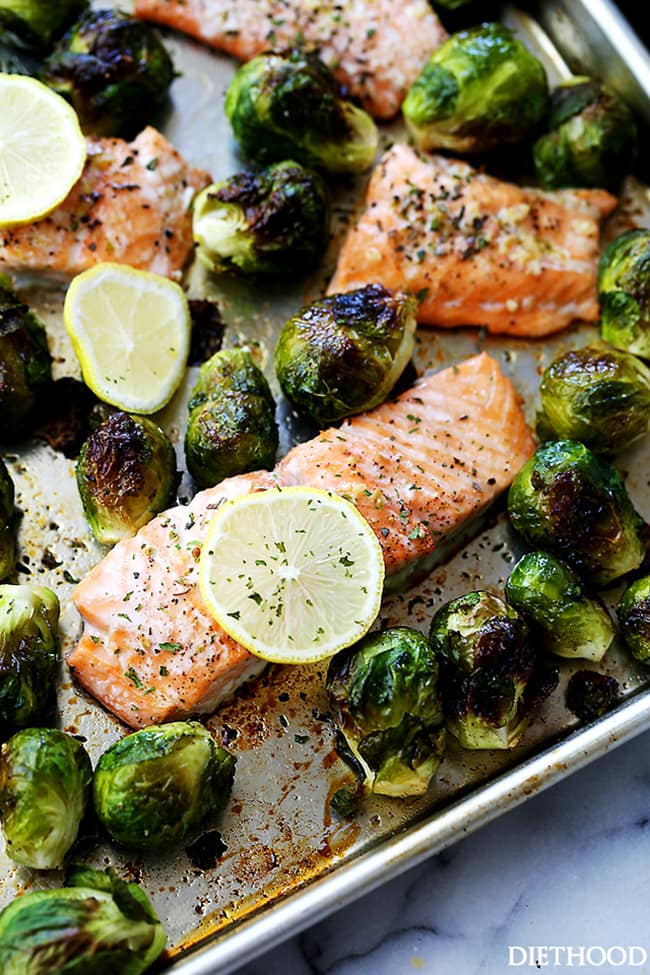 One Sheet Pan Garlic Roasted Salmon with Brussels Sprouts | Diethood