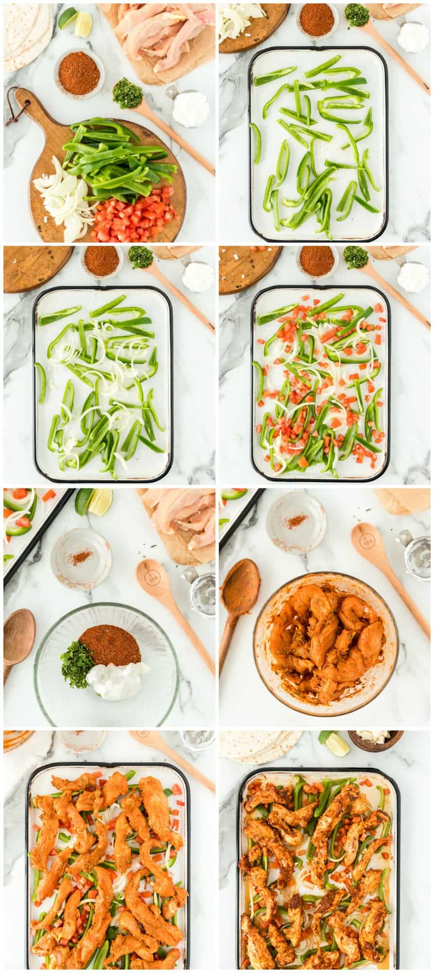 step by step photos of making baked chicken fajitas