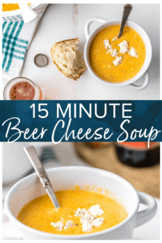 collage of beer cheese soup in bowl - pinterest image