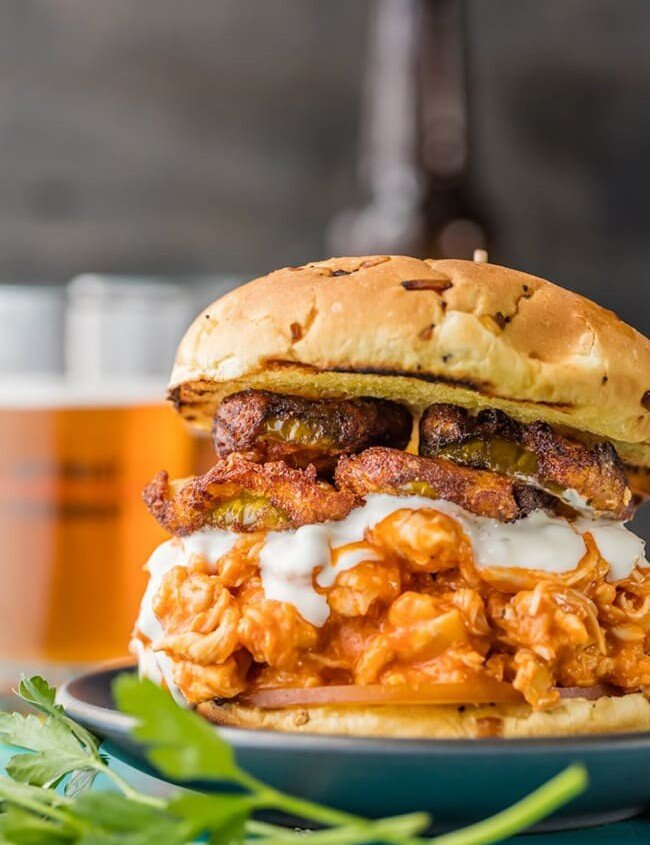 Buffalo Chicken Sandwich with Ranch Fried Pickles | The Cookie Rookie