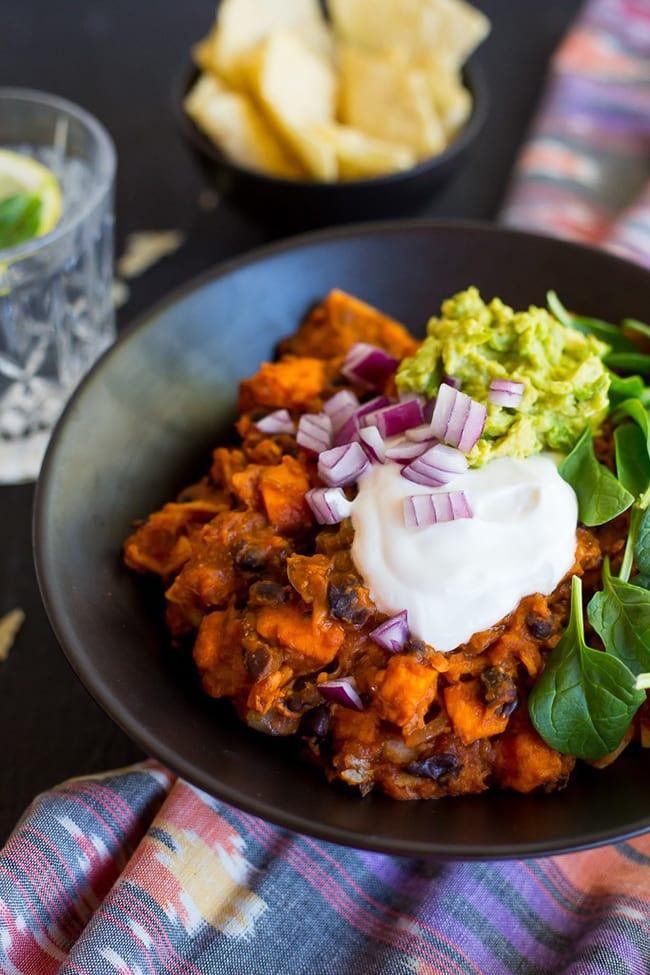 One-Pot, Stove Top Sweet Potato & Black Bean Chopped Enchiladas | She Likes Food