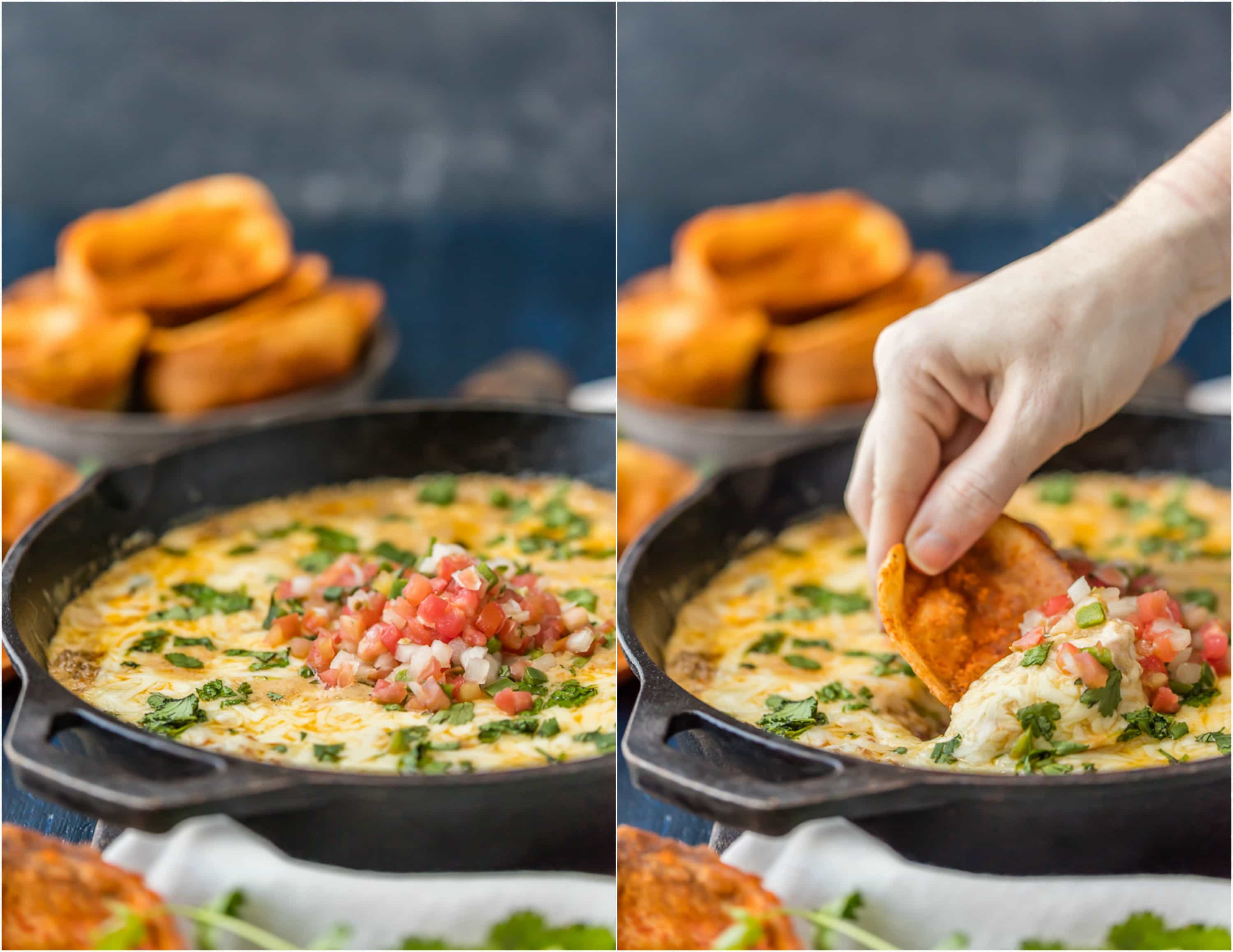 Fried Chili Cheese Dip Skillet, our favorite ONE POT dip recipe for tailgating! Skillet cheese dip never looked so good! Such a cheesy and easy dip recipe!