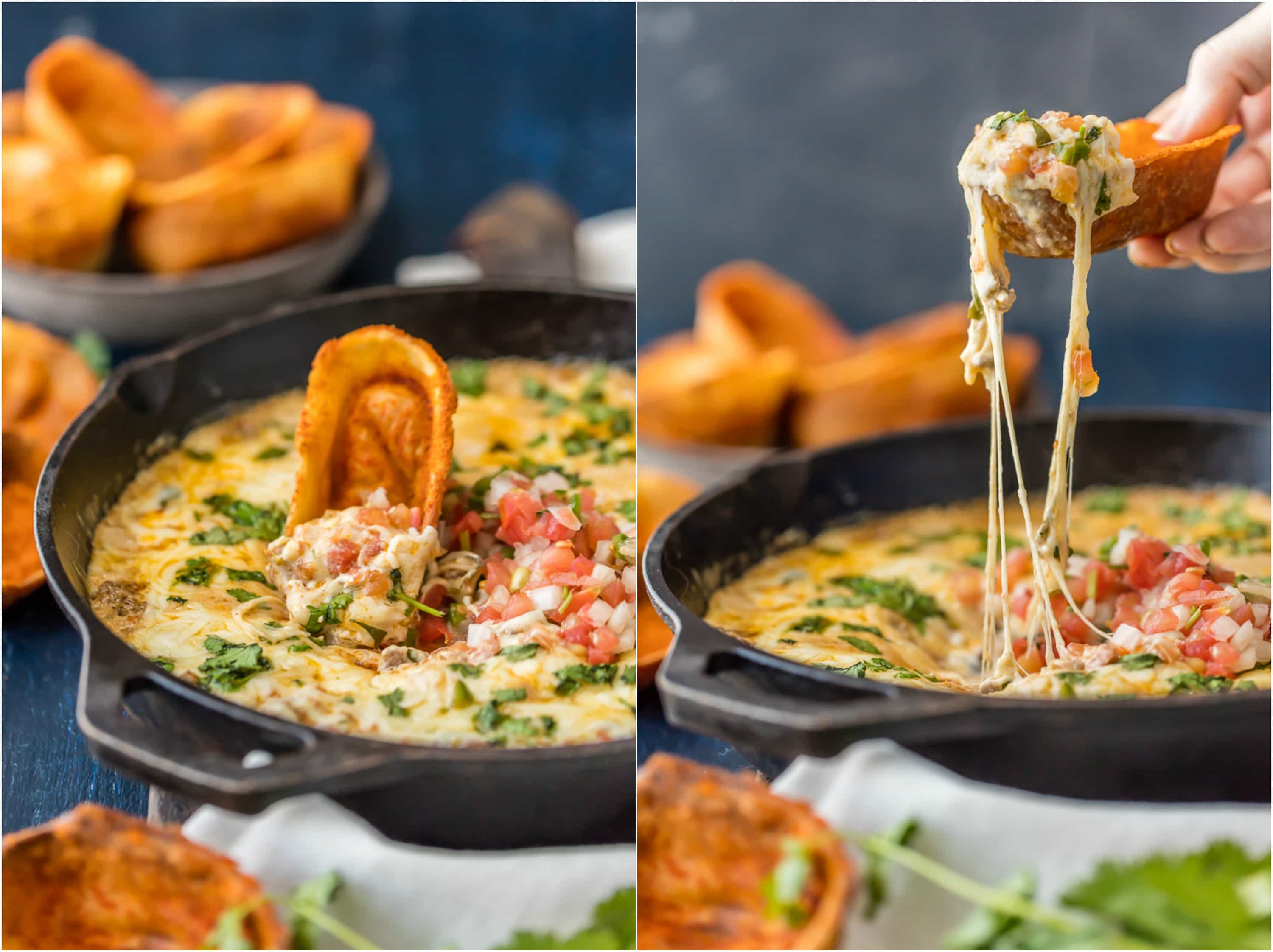 fried chili cheese dip pull with tortilla boat