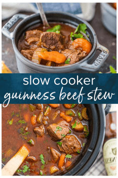 Guinness Beef Stew is a favorite Irish beef stew recipe in our house. We make this slow cooker beef stew for St. Patrick's Day every year, and we just can't get enough! It's the best Guinness stew and so easy to make! #thecookierookie #slowcooker #beefstew #beef #irish #stpatricksday #stew #guinness