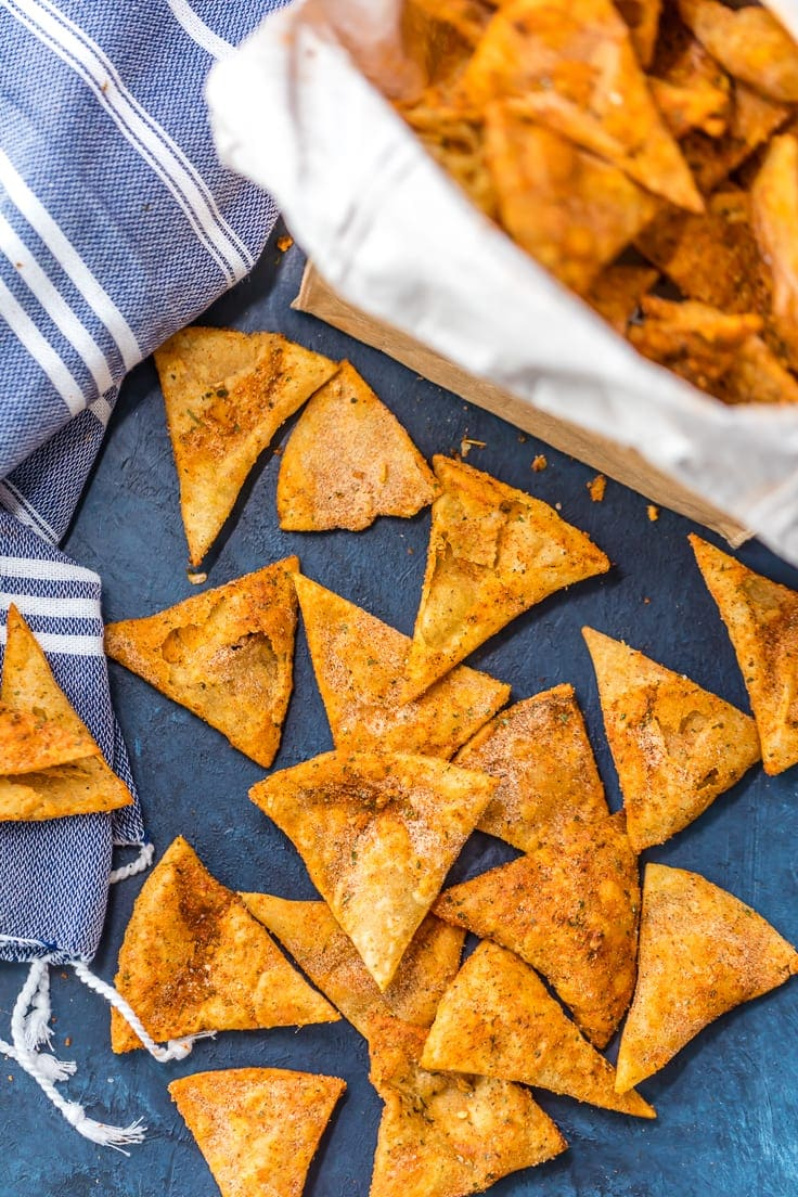 homemade cool ranch doritos arranged on a blue background