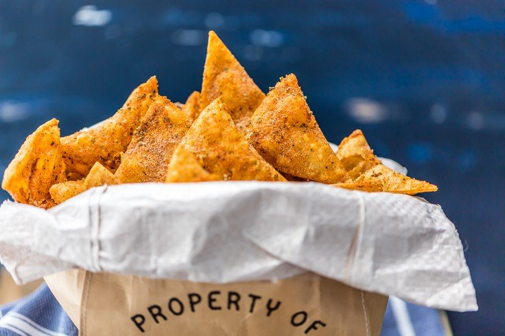 a bag of homemade doritos