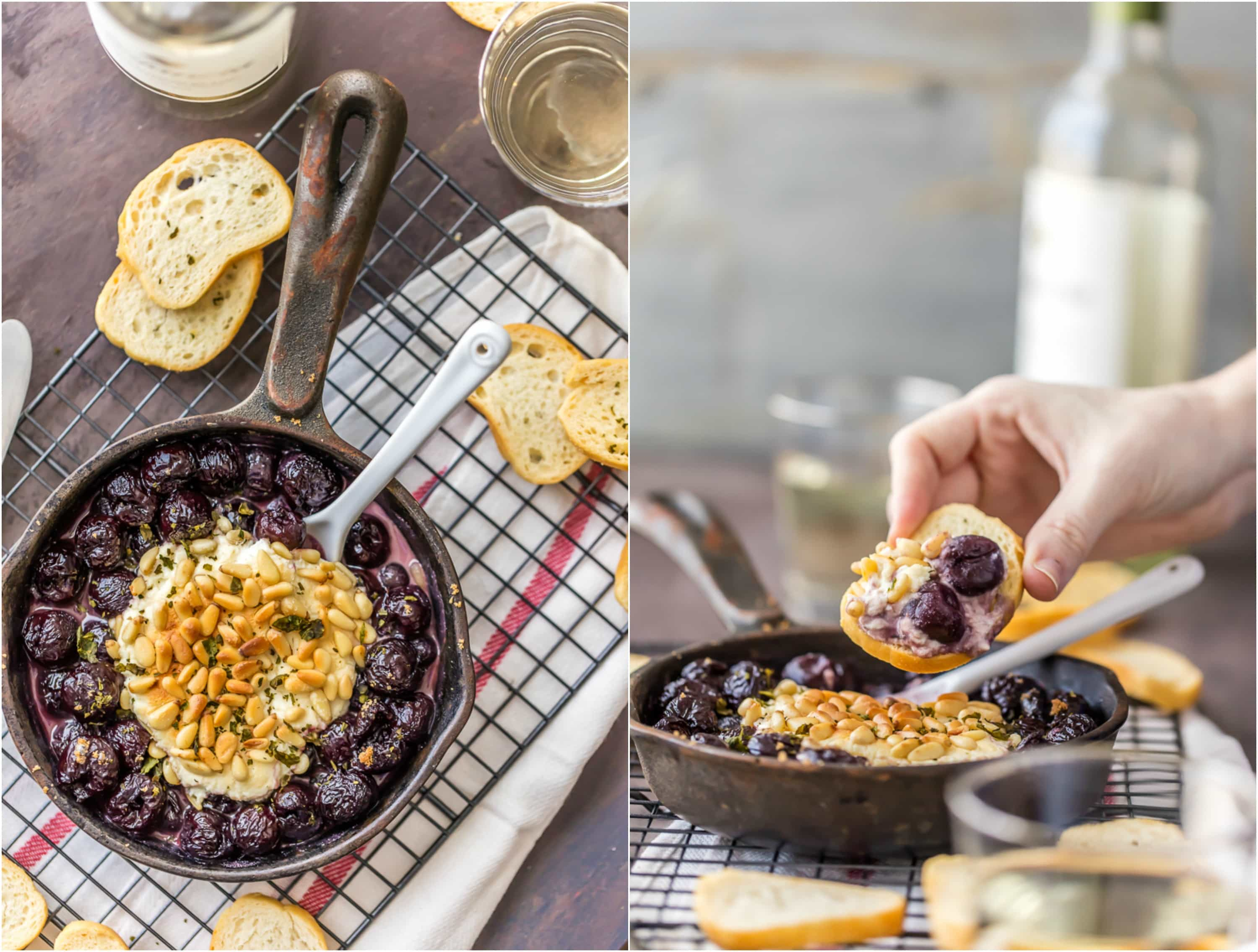 Hot Cherry Pie Goat Cheese Dip is an easy recipe perfect for entertaining! Beautiful and easy dip recipe made with goat cheese, cream cheese, cherry pie filling, pine nuts, and basil. All baked in a skillet. YUM!