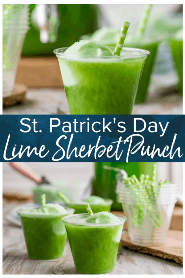Lime Sherbet Punch is the perfect St. Patrick's Day punch to celebrate the holiday. This fun green punch can be made as a cocktail or as a non-alcoholic St. Patrick's Day drinks recipe. It's the perfect sherbet punch for a crowd! #thecookierookie #stpatricksday #stpattysday #partypunch #green #sherbet