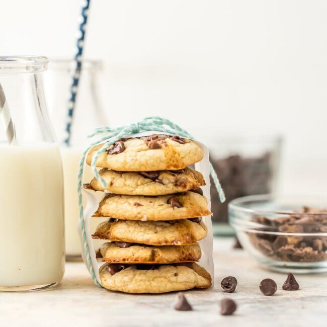 stack of salted caramel soft batch cookies