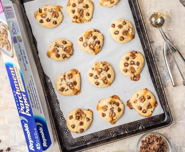 Loaded Salted Caramel Soft Batch Cookies is my VERY FAVORITE cookie recipe! So easy, soft, and perfect every time. Packed with chocolate chips and rolos!