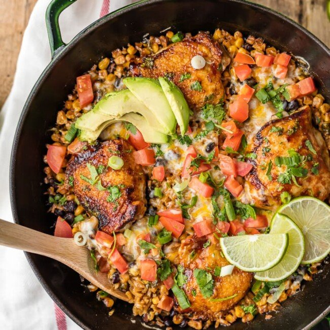 ONE PAN BBQ RANCH CHICKEN SKILLET, the perfect easy recipe for families! Best weeknight meal packed with cheese, corn, beans, chicken, cilantro, RANCH, and bbq sauce! MADE IN ONE POT!