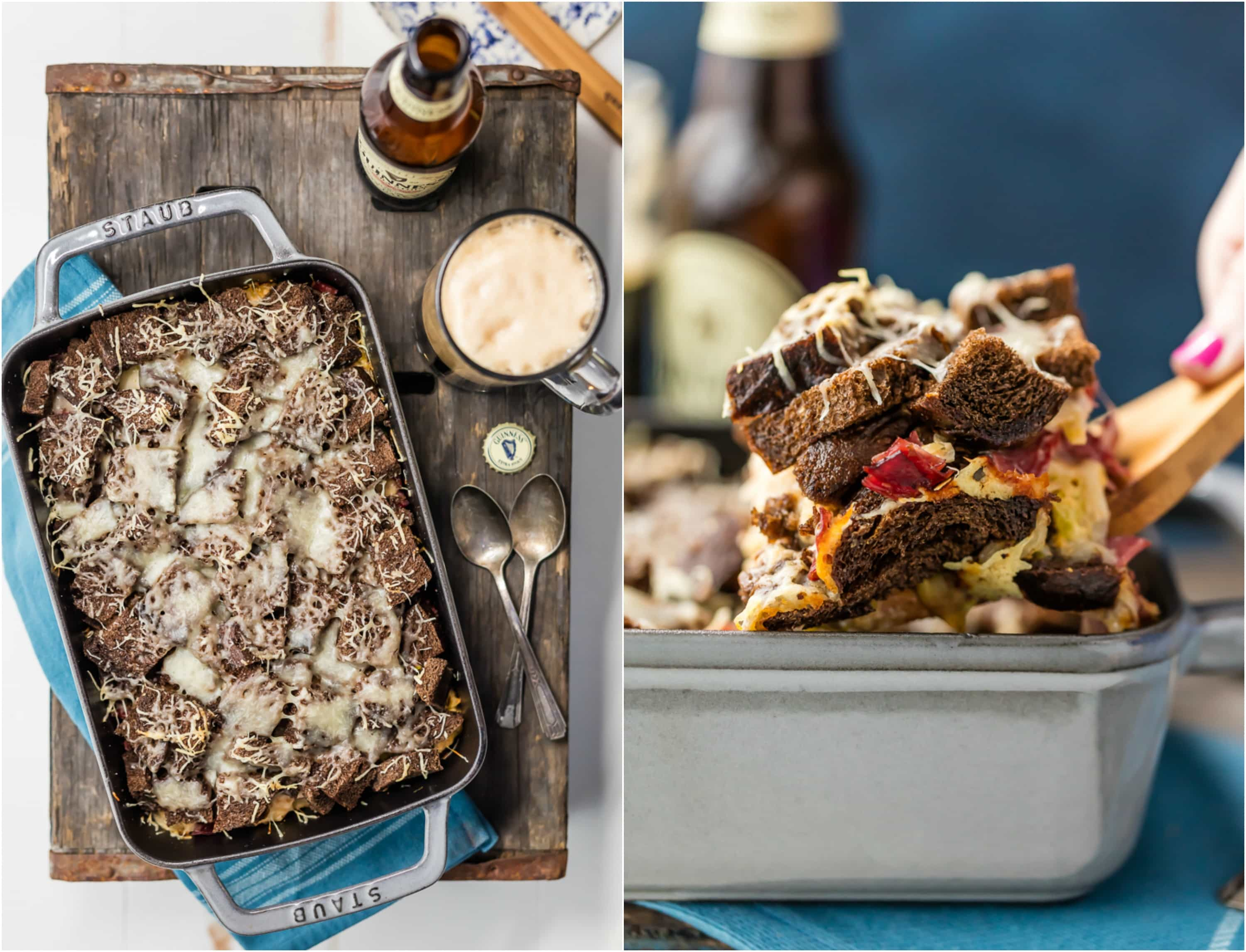 Reuben Casserole is a must make every St. Patrick's Day! Such an easy comfort food recipe, loaded with corned beef, rye bread, sauerkraut, Swiss cheese, and so much more. I love the flavor combination and love how simple it is to throw together in a pinch. ALL THAT CHEESE ON TOP! Gimme.