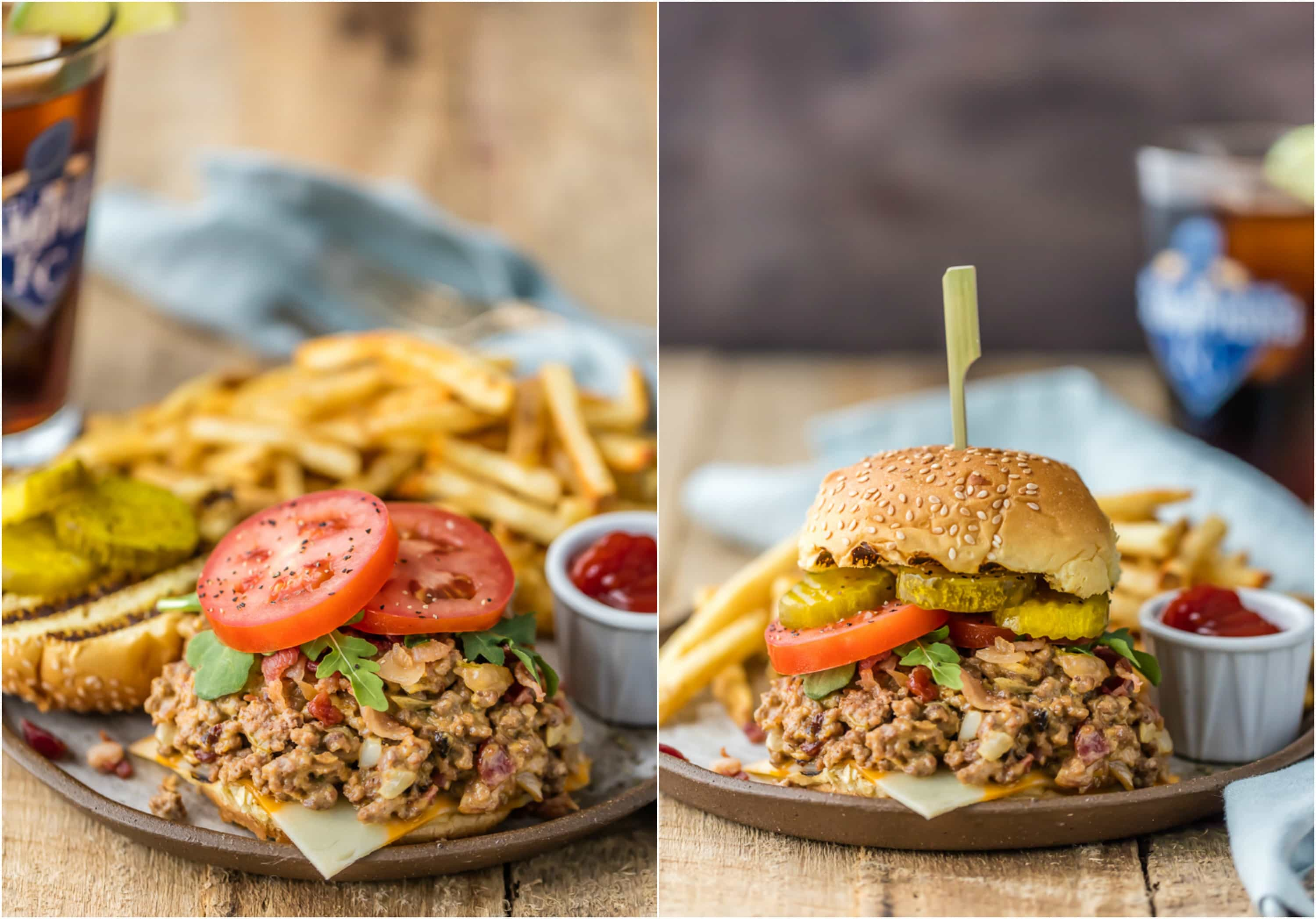 photo collage of bacon cheeseburger sloppy Joes, made in a slow cooker