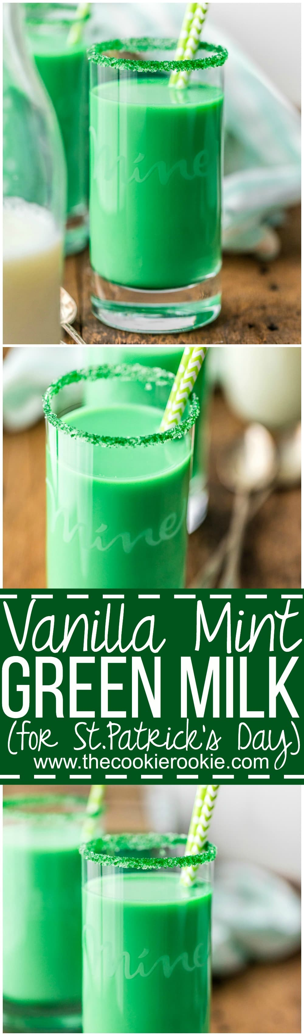 Make the kids extra happy on St. Patrick's Day with Vanilla Mint Green Milk! We make Leprechaun Milk every St Patricks Day! So fun and tasty too. Vanilla Mint Milk for the win!