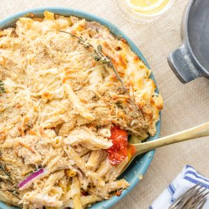 Baked pasta primavera with cream cheese Alfredo sauce! This oven baked vegetable pasta with cheesy cream sauce is our favorite easy pasta recipe!