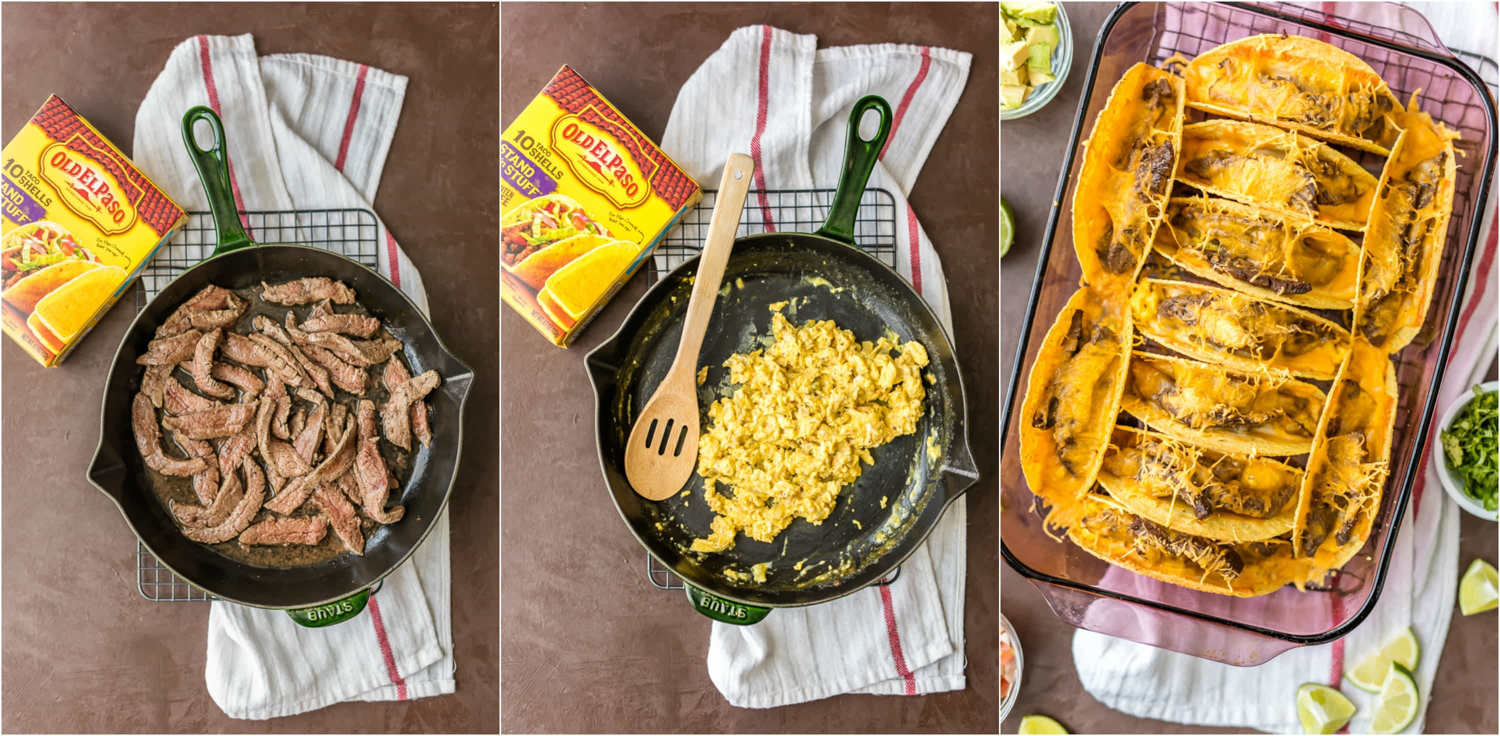 Baked Steak and Eggs Breakfast Tacos are perfect for a crowd! Baked Tacos are super easy, melty, cheesy, and delicious! Just the right amount of spice. A FAMILY FAVORITE!