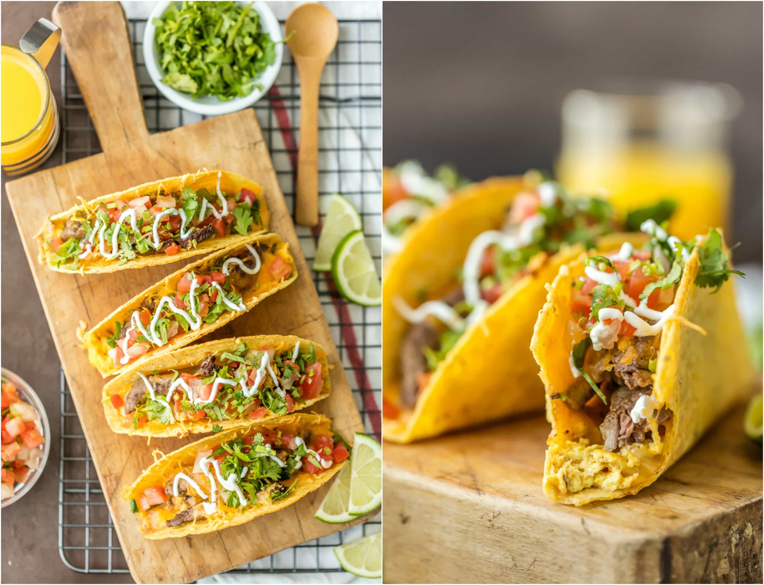 tacos filled with steak, eggs, and cheese