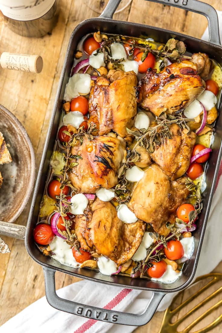 Balsamic Glazed Mediterranean baked chicken dinner