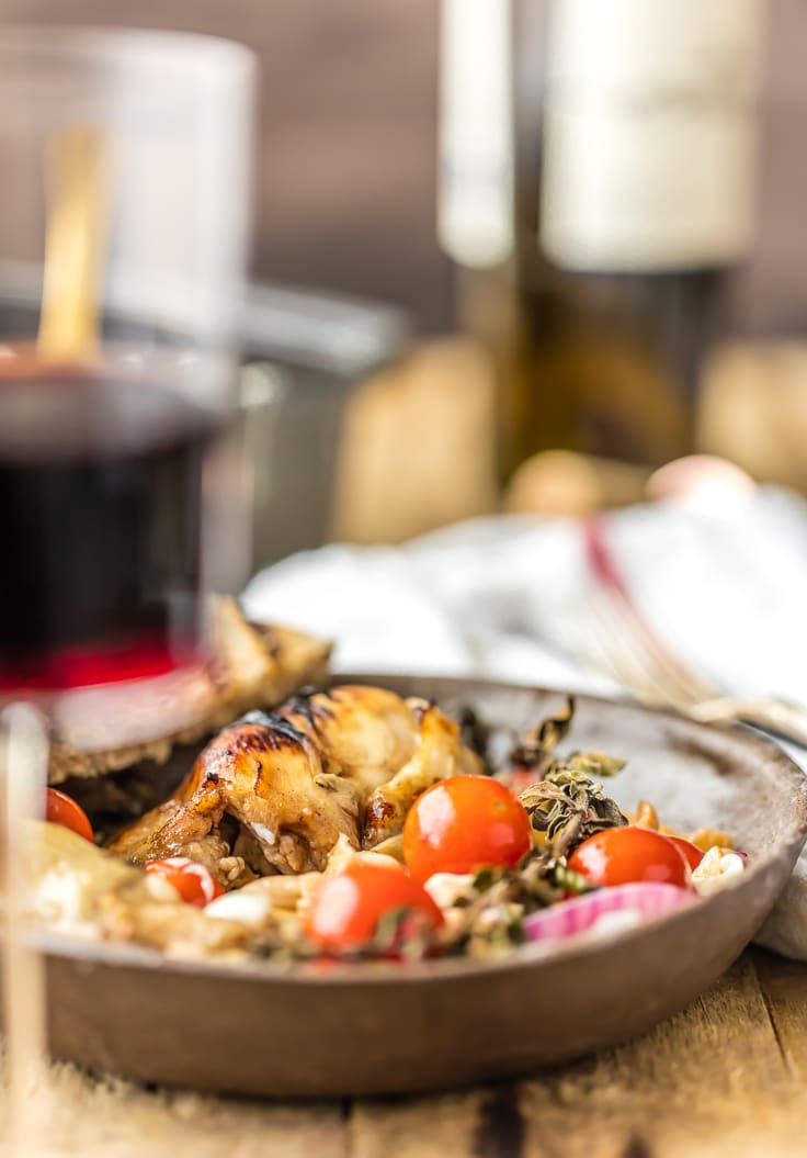 """Balsamic Glazed Mediterranean Chicken Bake is our favorite """"dump and bake"""" casserole! Throw everything together and cook, SO EASY! All the best flavors of the Mediterranean in one easy chicken recipe!"""
