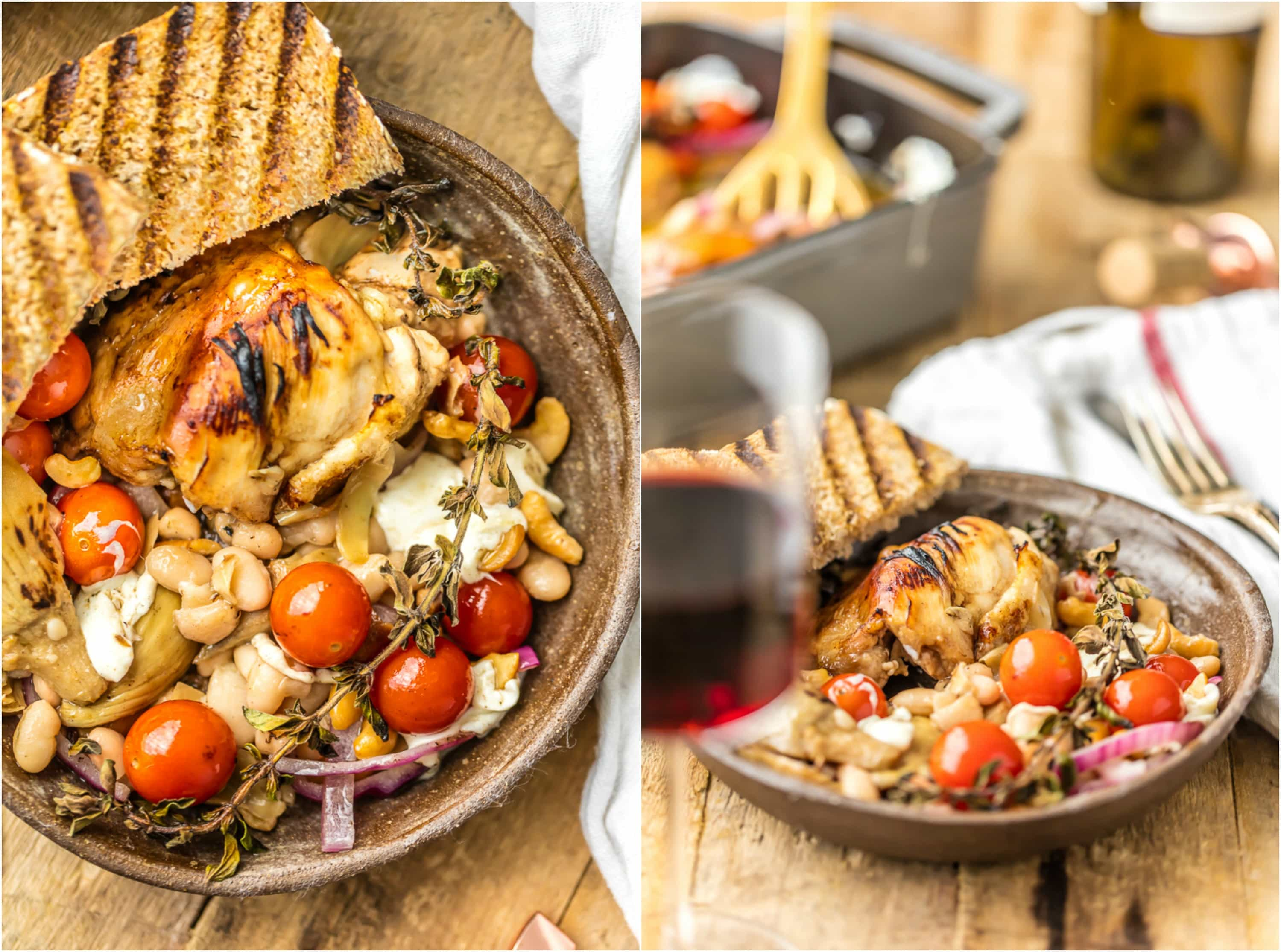 balsamic glazed Mediterranean baked chicken on a plate with grilled garlic toast