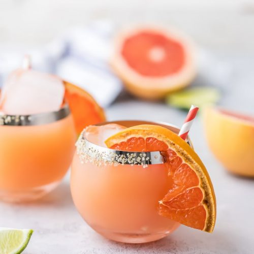 grapefruit margarita on table
