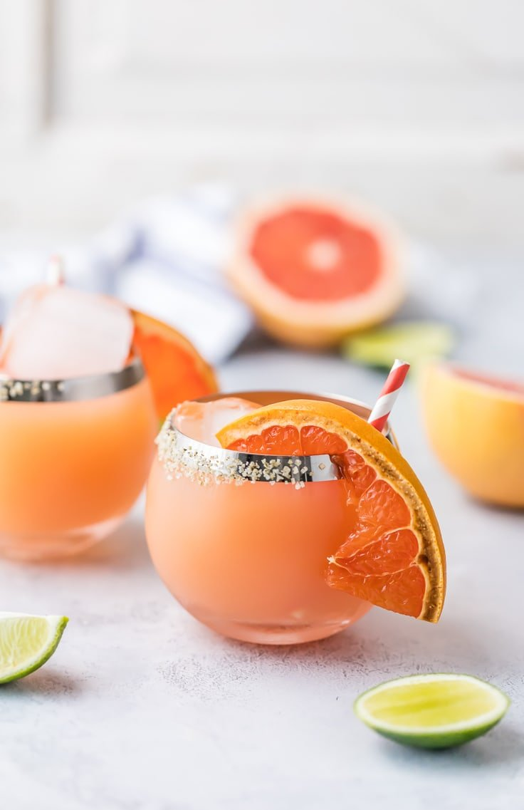 grapefruit margaritas on a table