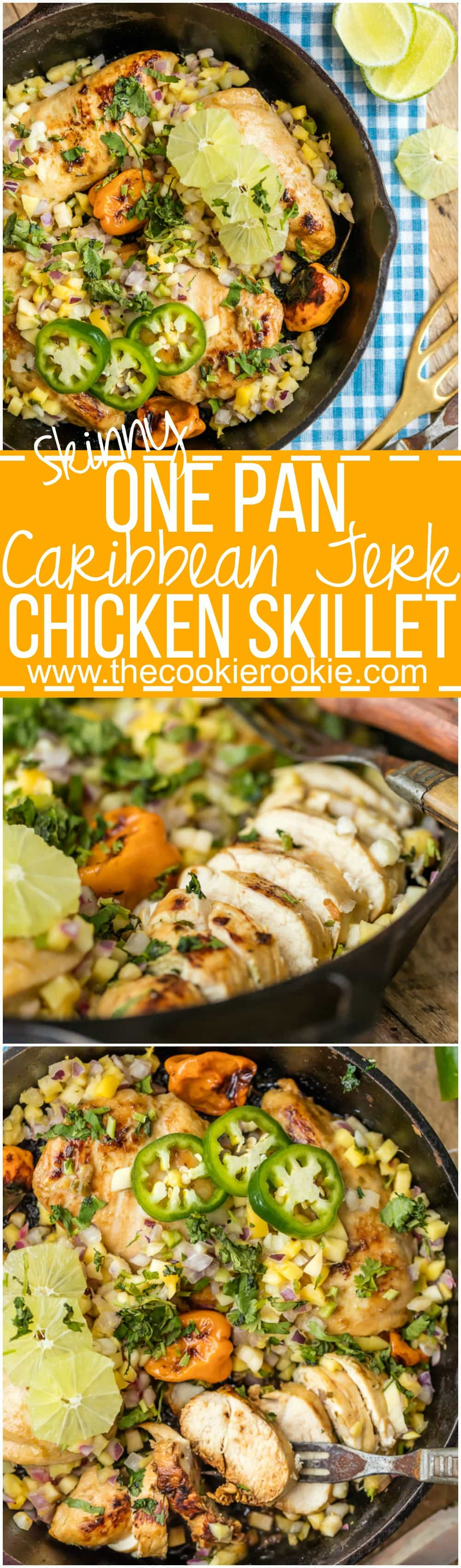 Make this SKINNY ONE PAN CARIBBEAN JERK CHICKEN SKILLET in just 15 minutes! Topped with mango salsa for a cool kick. A delicious and easy weeknight meal!