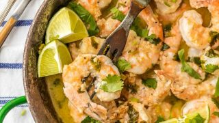 One Pot Cilantro Lime Shrimp Scampi
