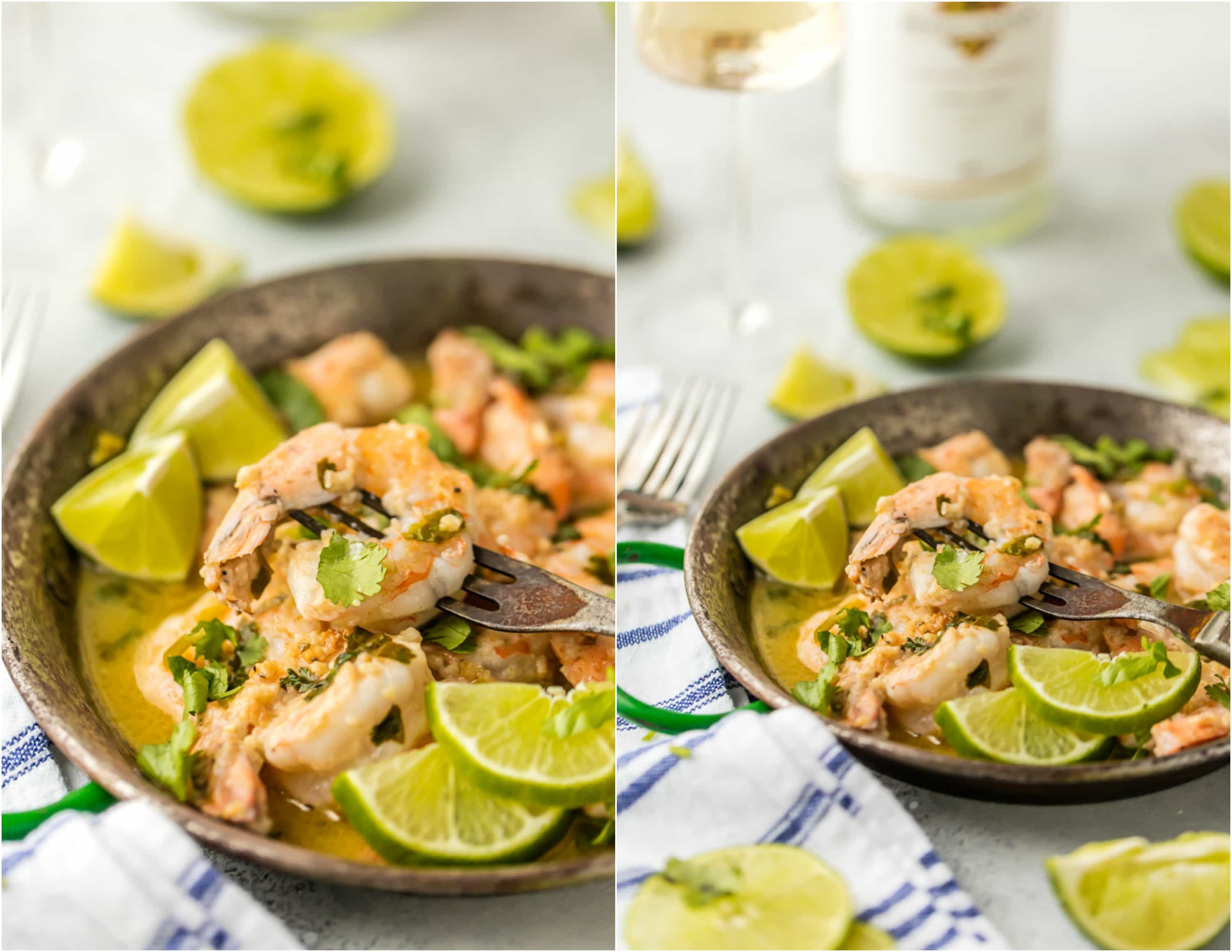 shrimp cooked with butter, lime, and cilantro