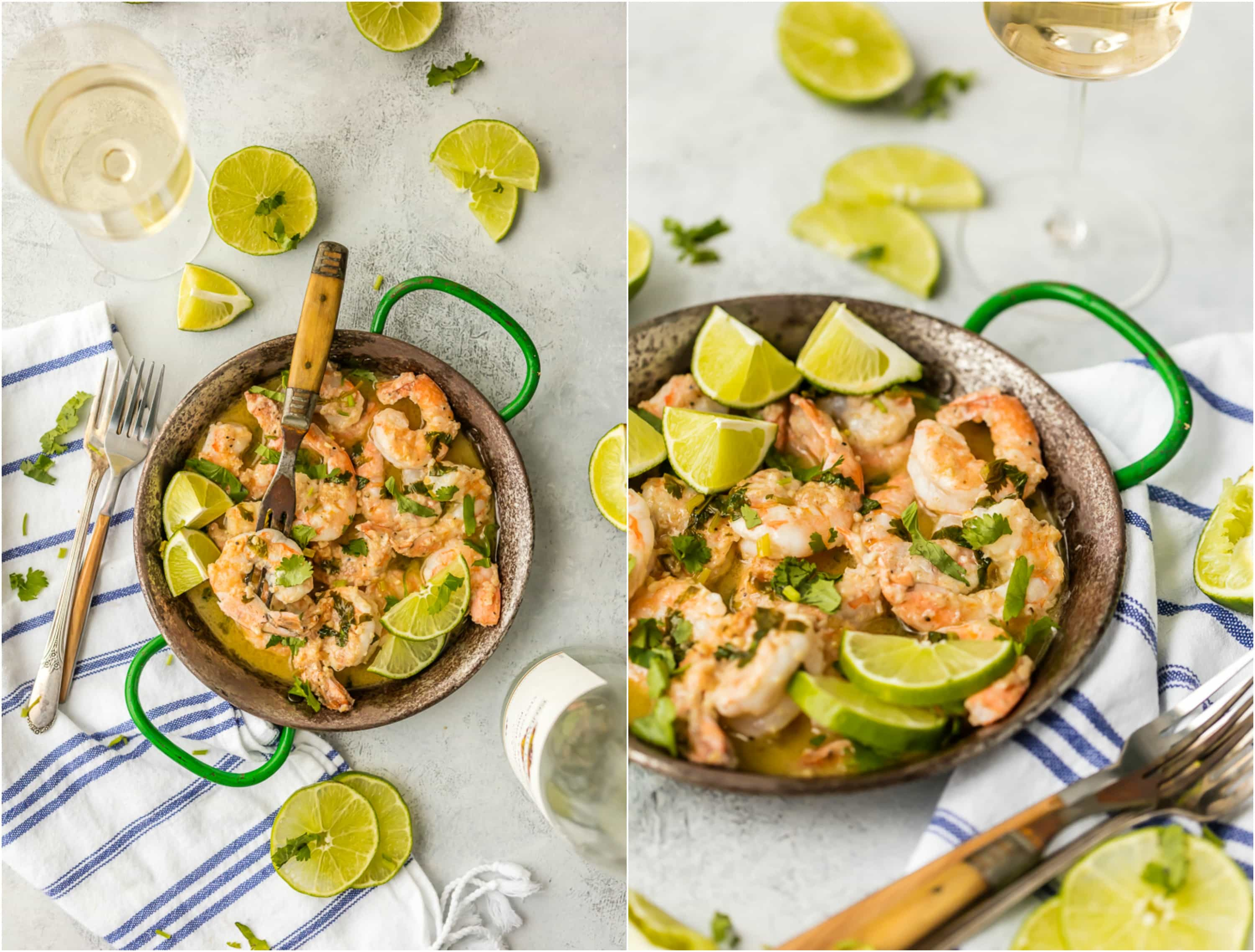 Make dinner (or appetizer night) easy with ONE POT CILANTRO LIME SHRIMP SCAMPI! The White Wine Garlic Butter Cilantro Lime Sauce is AMAZING! Made in 15 minutes. Perfection.