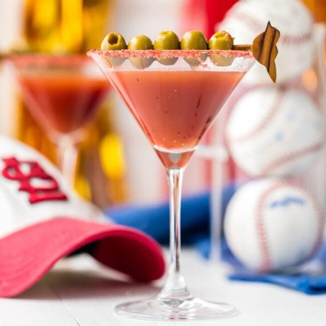 Enjoy a Dirty Redbird Martini (Cardinals Cocktail), a drink perfect for supporting the St. Louis Cardinals! Dirty Martini crossed with Bloody Mary, what could be better?