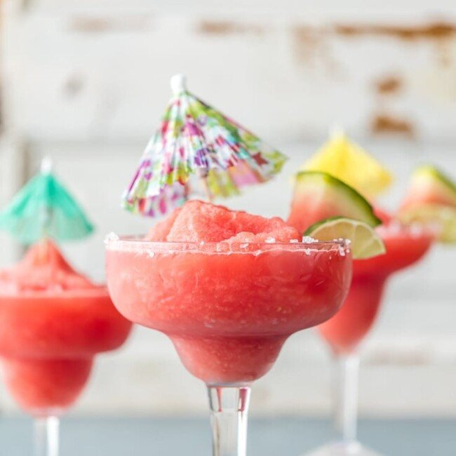 frozen watermelon margaritas with mini umbrellas