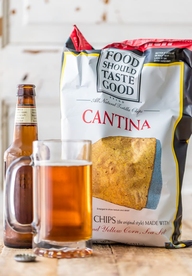 bag of chips next to a beer